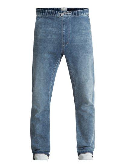 Fonic Straight salty stone - pantalon de jogging en denim coupe slim pour homme - bleu - quiksilver