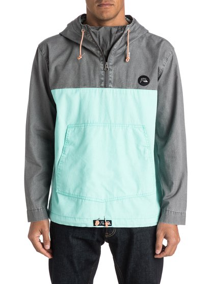 Surf Jacket WindbreakerSurf Куртка Мужск от Quiksilver.ХАРАКТЕРИСТИКИ: пуловер с капюшоном, стандартный крой, крупный карман на кнопках, металлическая молния.СОСТАВ: 100% хлопок.<br>