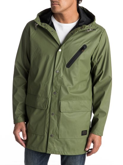 Travers Deep - Long Rain JacketThis mens longline raincoat is here to help you transition seamlessly between seasons. The hood and DWR coating on the tech-style matte fabric will protect you from showers, whilst the unlined design allows you to layer up on cooler days, or keep your cool during tropical cloudbursts. The parka cut comes in street-inspired clover green and tarmac grey.<br>