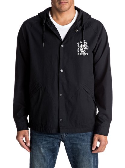 Hideaway Coach - Baseball Coach JacketIf its good enough for coach its good enough for us. This lightweight, baseball-inspired mens coach jacket takes the 90s streetwear staple and gives it a grungy vintage-look with skull and cross art, monochrome design and soft cotton fabric. Ideal for covering up after sundown or in-between seasons. <br>