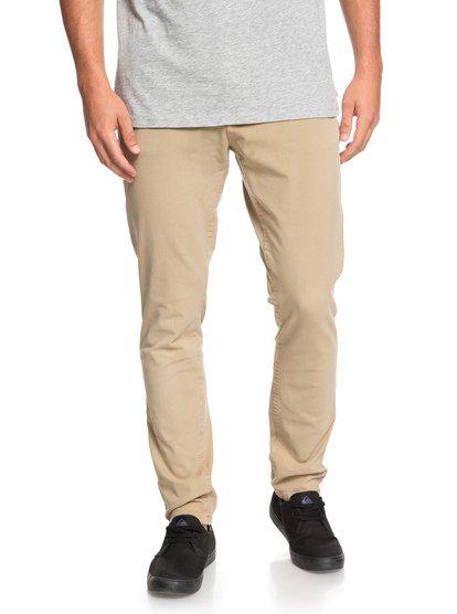 Krandy - pantalon chino slim pour homme - marron - quiksilver