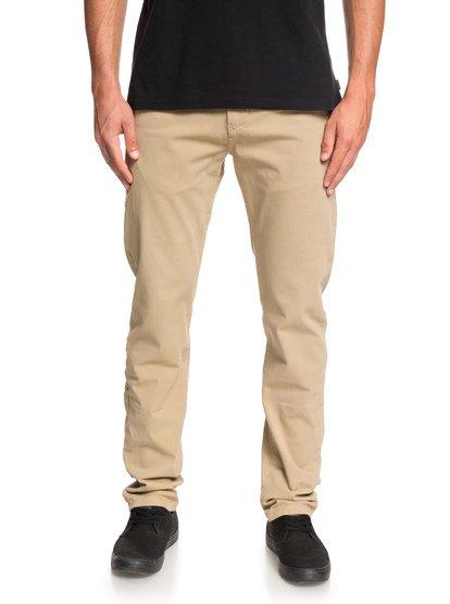 Krandy - pantalon chino droit pour homme - marron - quiksilver