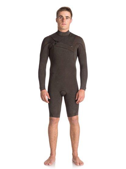 2/2mm Quiksilver originals monochrome - springsuit manches longues zip poitrine pour homme - noir - quiksilver