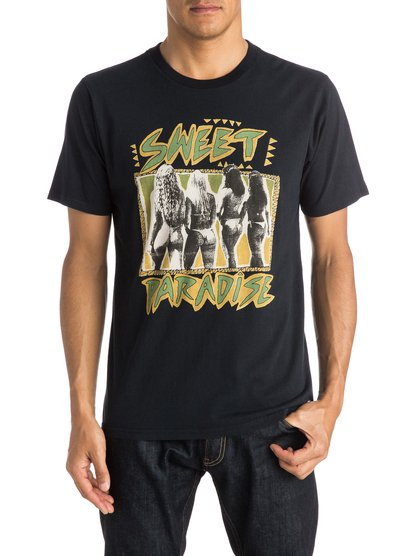 Paradise T-ShirtМужская футболка Paradise от Quiksilver. <br>ХАРАКТЕРИСТИКИ: короткие рукава, мягкий натуральный трикотаж, ткань средней плотности 180 г/кв. м, брендинг коллекции Dark Rituals. <br>СОСТАВ: 100% хлопок.<br>