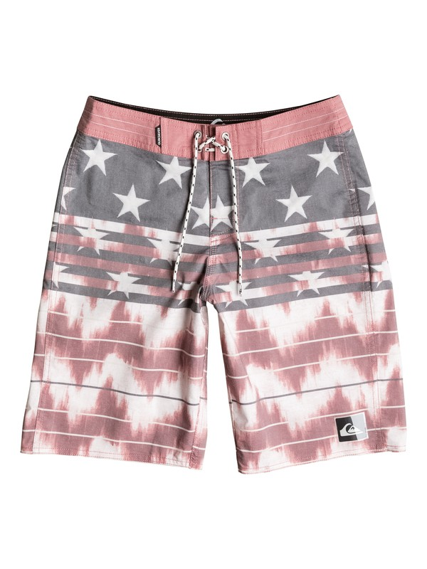 """0 Boys 8-16 Swell Americana 19"""" Boardshorts Red AQBBS03070 Quiksilver"""