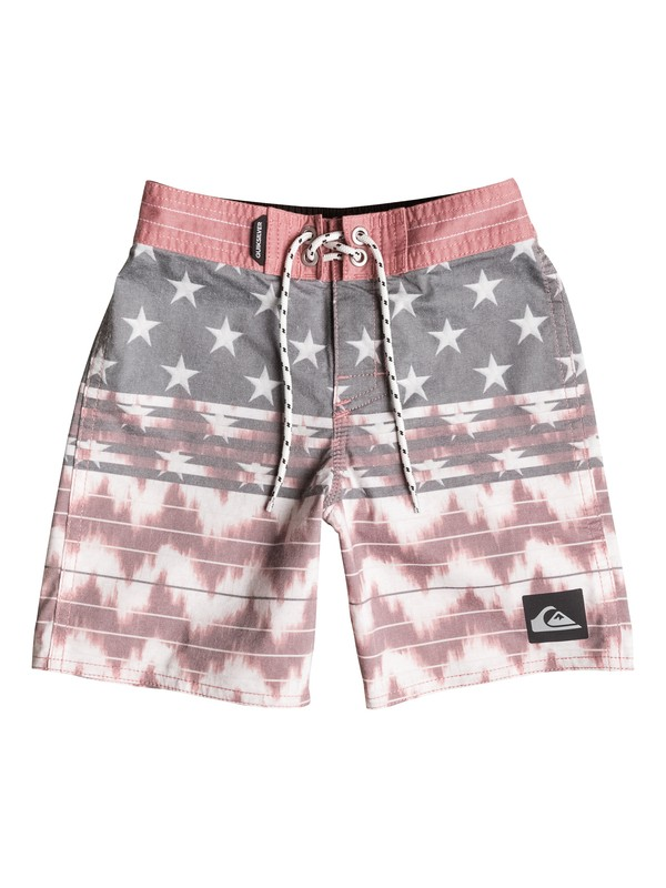 "0 Boys 2-7 Swell Americana 19"" Boardshorts Red AQKBS03047 Quiksilver"