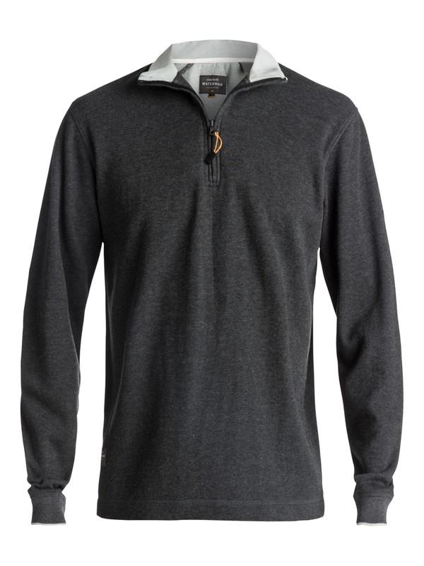 0 Men's Waterman Point Sur Zip Sweatshirt Black AQMFT03015 Quiksilver