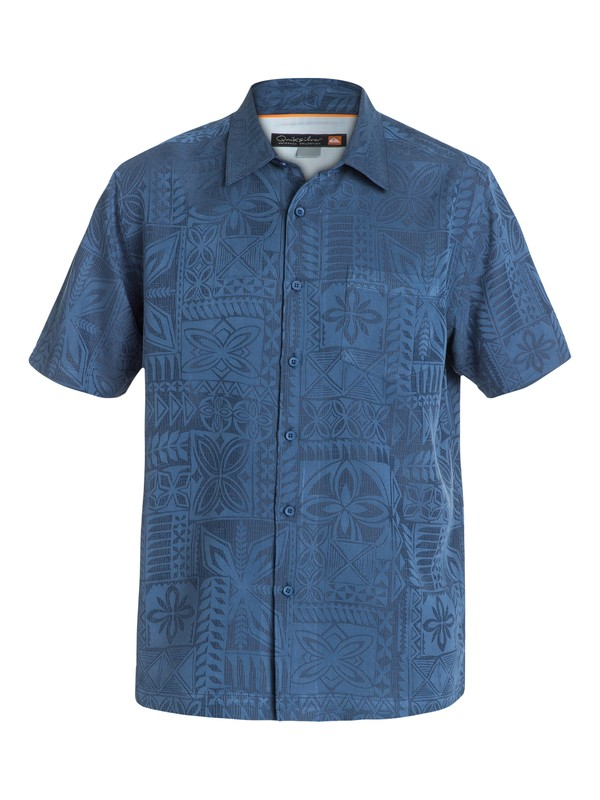 0 Men's Aganoa Bay Short Sleeve Shirt Blue AQMWT03042 Quiksilver