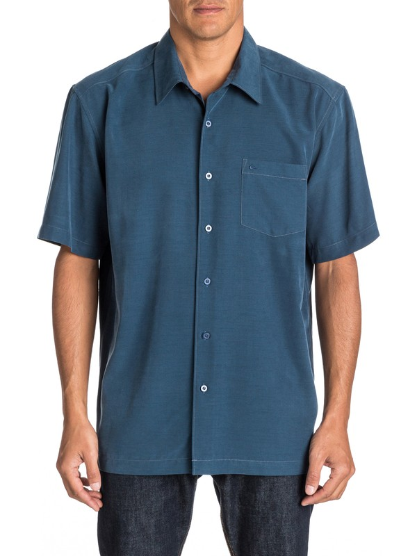 0 Waterman Clear Days Short Sleeve Shirt Blue AQMWT03107 Quiksilver