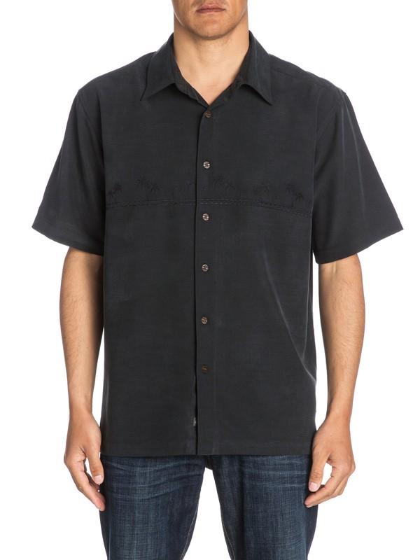 0 Waterman Tahiti Palms - Short Sleeve Shirt Black AQMWT03108 Quiksilver