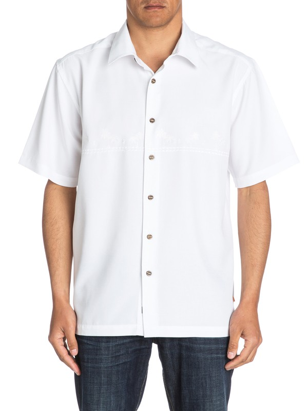 0 Waterman Tahiti Palms - Short Sleeve Shirt White AQMWT03108 Quiksilver