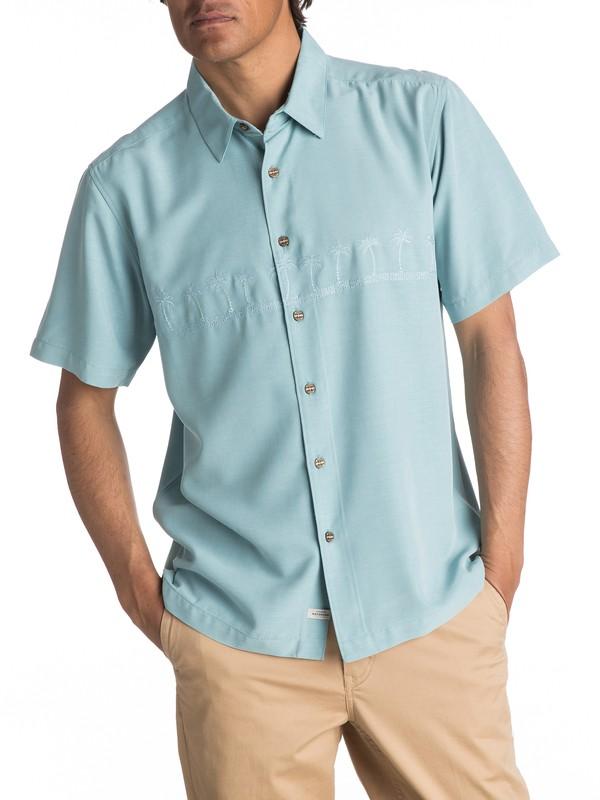 0 Waterman Tahiti Palms - Short Sleeve Shirt Blue AQMWT03108 Quiksilver