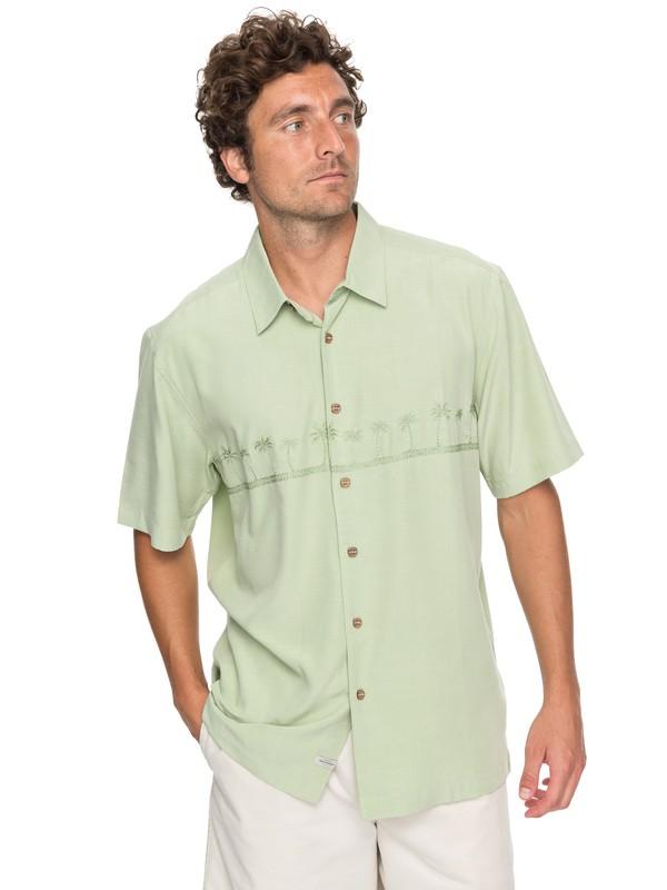 0 Waterman Tahiti Palms 4 Short Sleeve Shirt Green AQMWT03108 Quiksilver