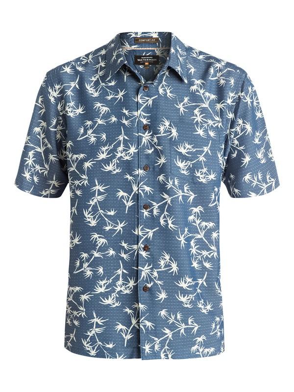 0 Waterman Skinny Palms - Short Sleeve Shirt Blue AQMWT03321 Quiksilver