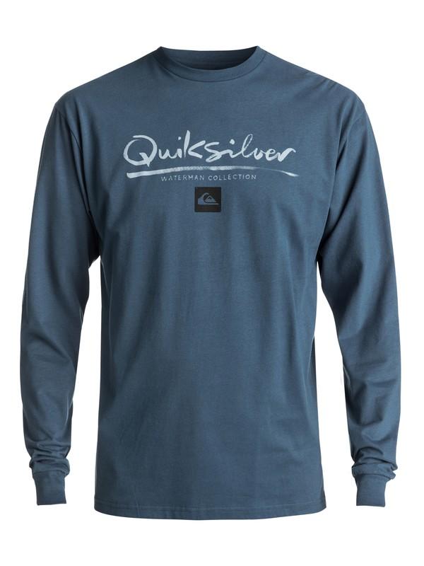 0 Men's Wordmark Long Sleeve Tee Blue AQMZT03269 Quiksilver