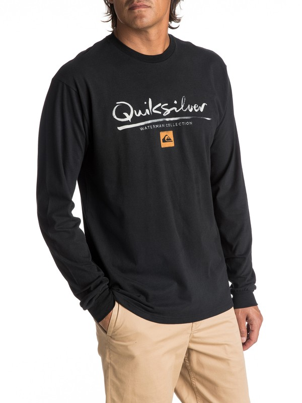 0 Men's Wordmark Long Sleeve Tee Black AQMZT03269 Quiksilver