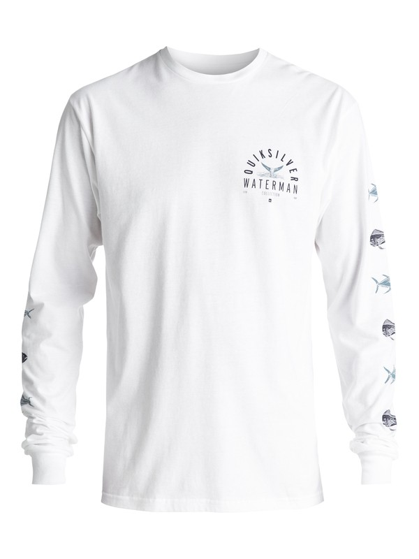 0 Men's Fresh Catch Long Sleeve Tee White AQMZT03271 Quiksilver