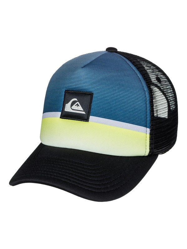 0 Men's Stripe Downer Trucker Hat Blue AQYHA03932 Quiksilver