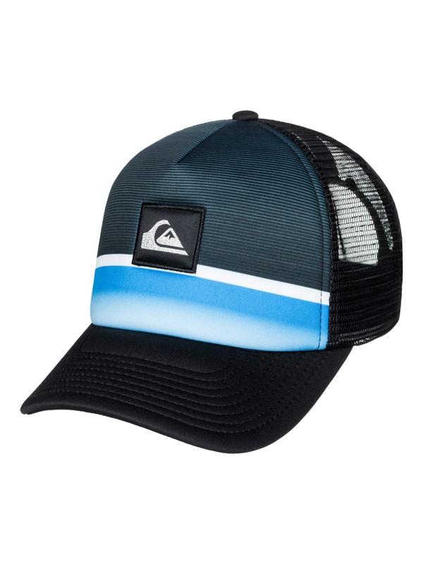 0 Men's Stripe Downer Trucker Hat Blue AQYHA03932 Quiksilver