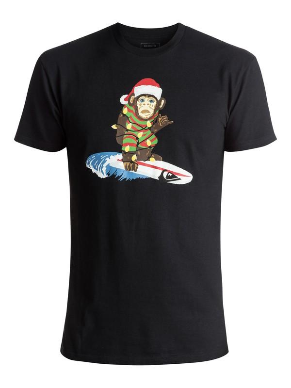 0 Men's Santa Surf Monkey Tee Black AQYZT05093 Quiksilver
