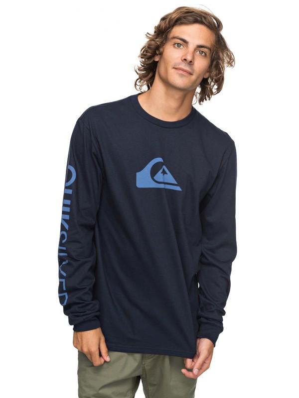 0 Logo Long Sleeve Tee Blue AQYZT05217 Quiksilver