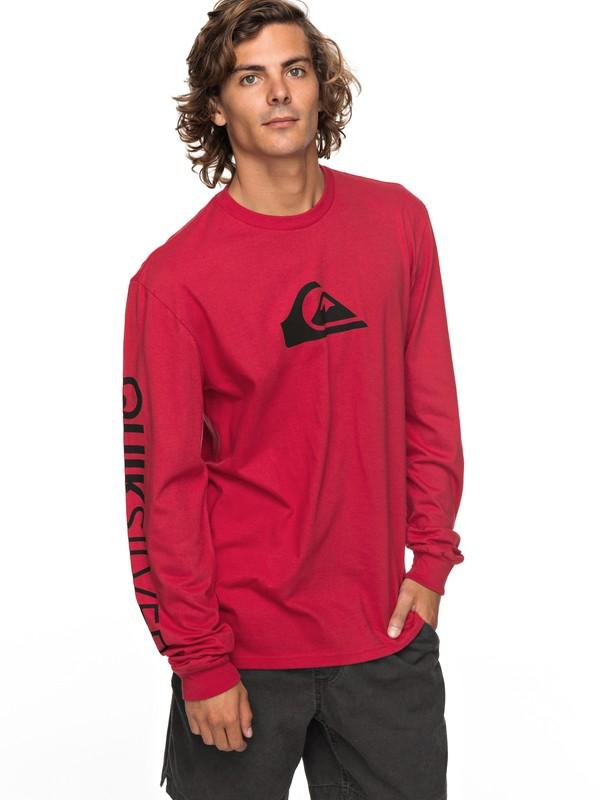 0 Logo Long Sleeve Tee Red AQYZT05217 Quiksilver