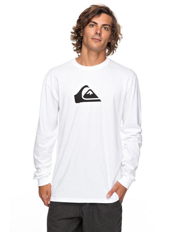 0 Logo Long Sleeve Tee White AQYZT05217 Quiksilver