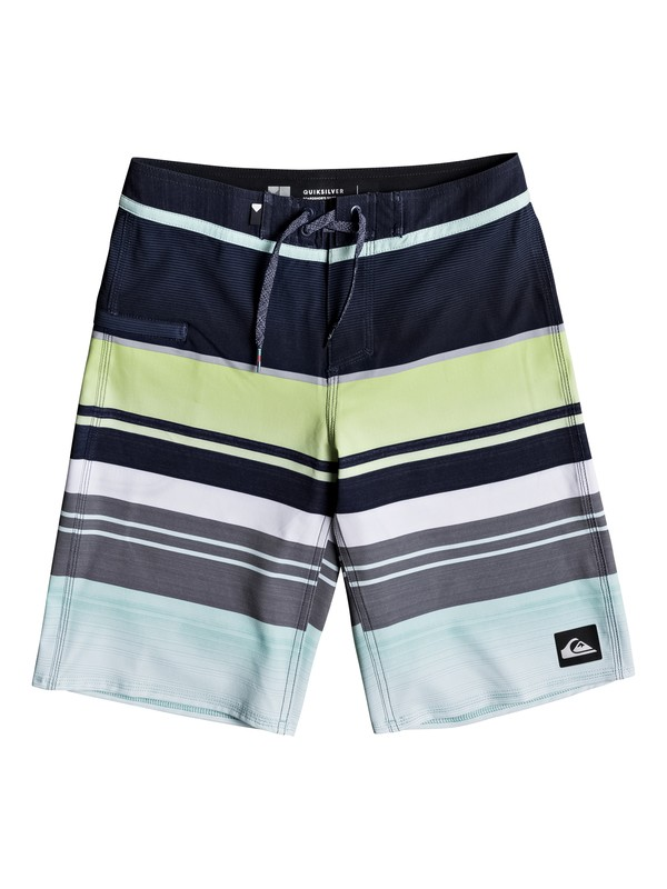 "0 Boy's 8-16 Everyday Stripe Vee 19"" Boardshorts Blue EQBBS03151 Quiksilver"
