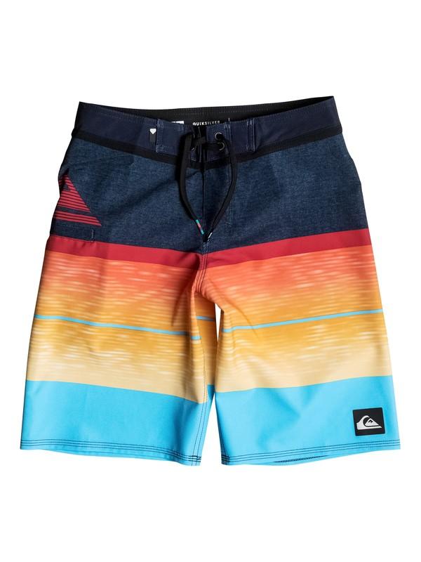"0 Boy's 8-16 Slab Logo Vee 18"" Boardshorts Blue EQBBS03152 Quiksilver"