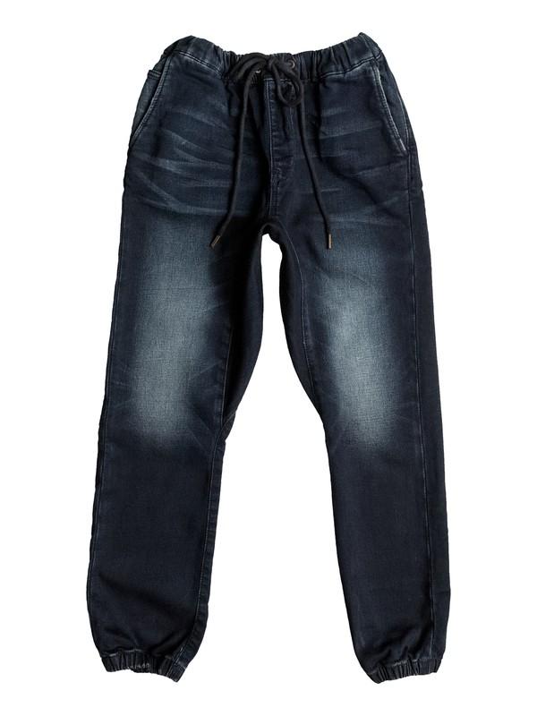 0 Fonic Dark Blue - Pantalon Molleton Effet Denim Coupe Slim Noir EQBDP03120 Quiksilver