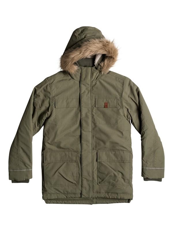 0 Seasonal Rain - Water-Repellent Parka Jacket Green EQBJK03131 Quiksilver