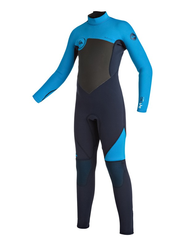 0 Boy's Syncro 3/2mm Back Zip Full Wetsuit Blue EQBW103016 Quiksilver