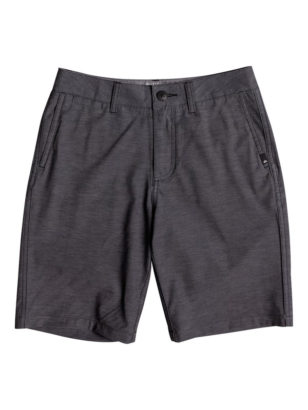 "0 Boy's 8-16 Union Heather Amphibian 18"" Amphibian Shorts Black EQBWS03199 Quiksilver"