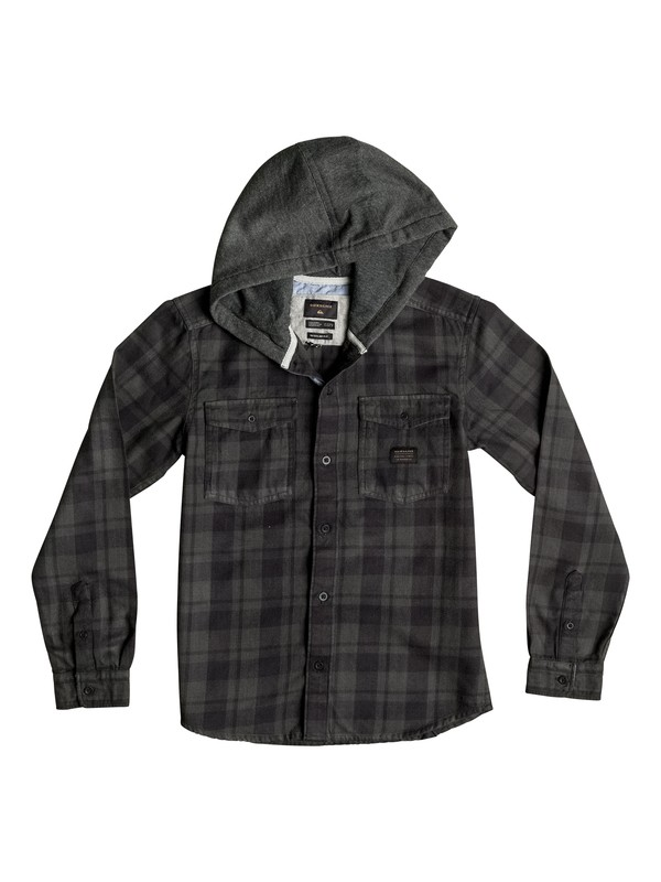 0 Boy's 8-16 Snap Up Flannel Hooded Long Sleeve Shirt  EQBWT03107 Quiksilver