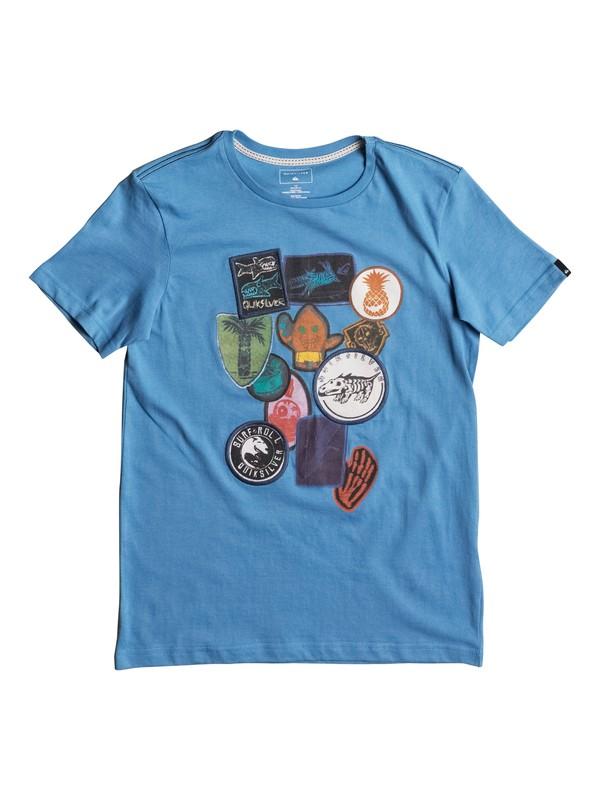 0 Badges - T Shirt Bleu EQBZT03586 Quiksilver