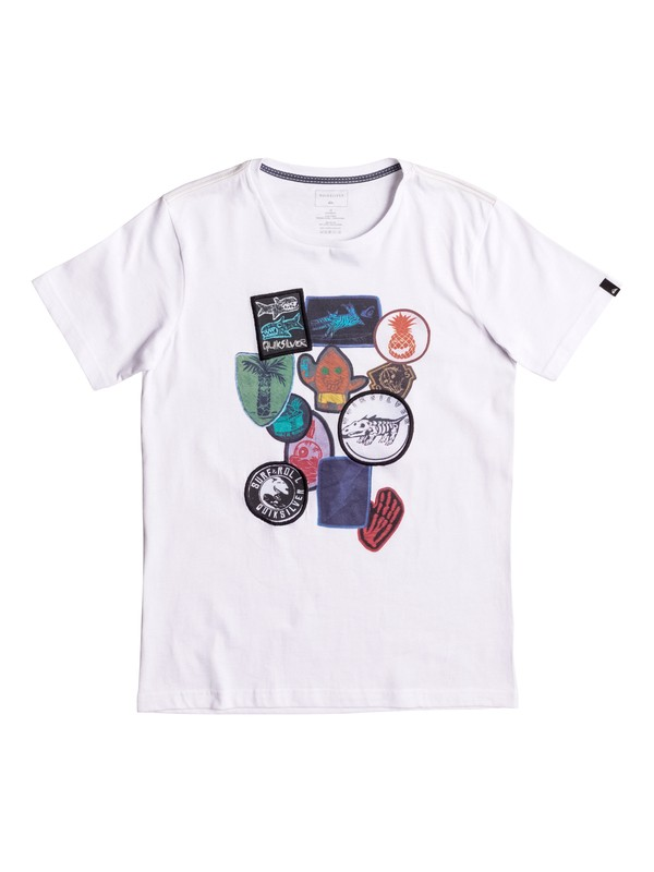 0 Badges - T Shirt Blanc EQBZT03586 Quiksilver