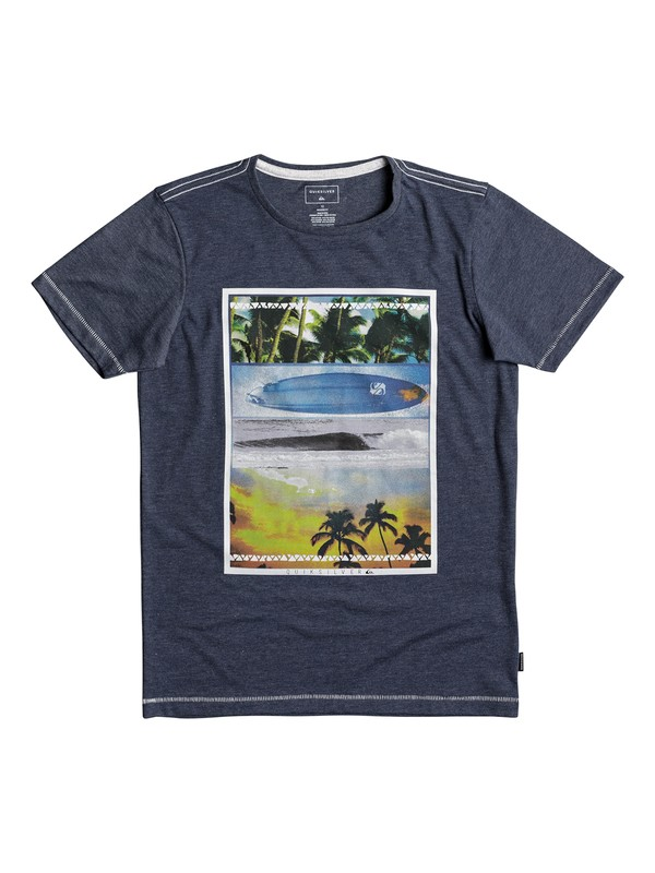 0 Heather Place To Be - T-shirt col rond Bleu EQBZT03692 Quiksilver
