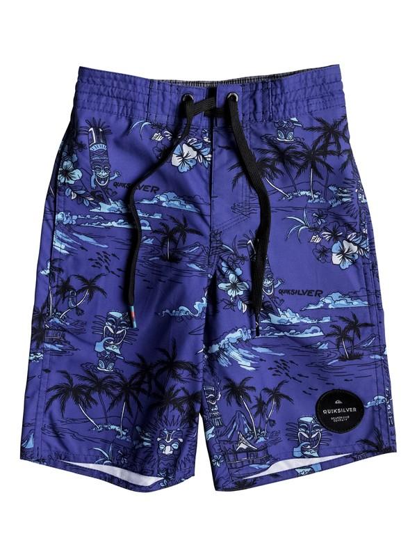 "0 Boy's 2-7 Tiki 14"" Boardshorts Blue EQKBS03140 Quiksilver"