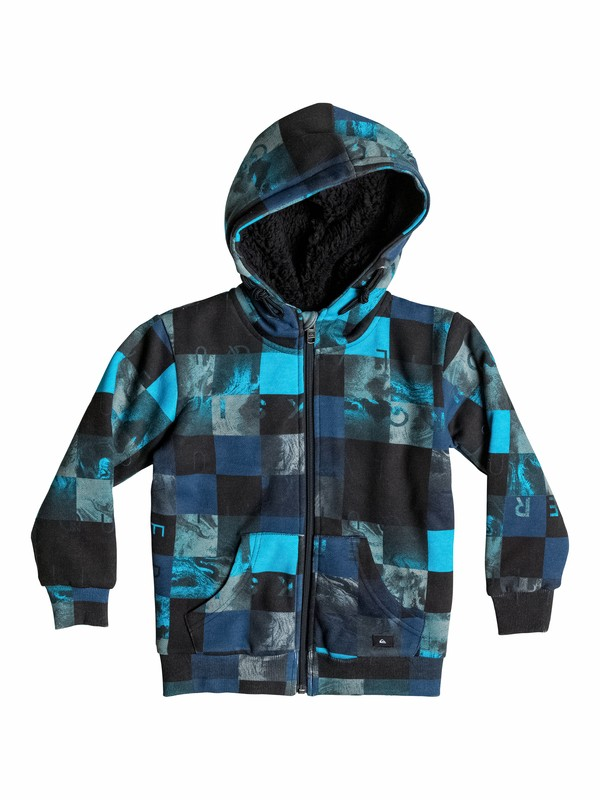 0 Allover Sherpa Checks - Sweat doublé à capuche zipé  EQKFT03066 Quiksilver