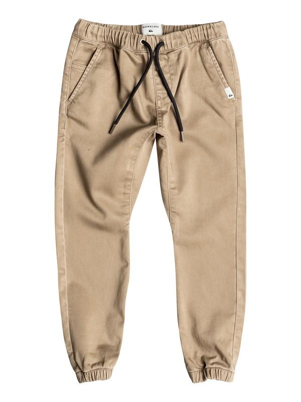 0 Fonic - Pantalon Coupe Jogger En Sergé Beige EQKNP03029 Quiksilver
