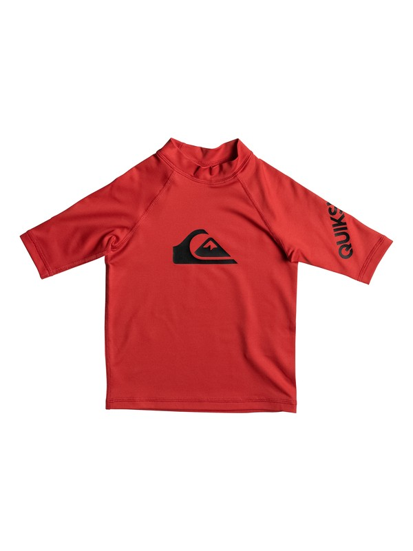 0 Boys 2 - 7 All Time Short Sleeve UPF 50 Rashguard Red EQKWR03019 Quiksilver