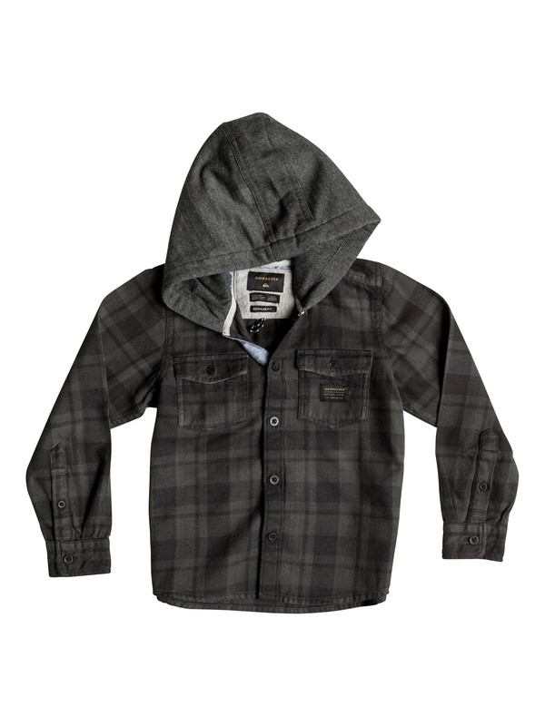 0 Boy's 2-7 Snap Up Flannel Hooded Long Sleeve Shirt  EQKWT03069 Quiksilver