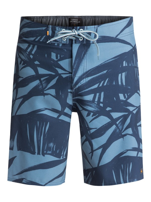 "0 Waterman Wake Palm 20"" Boardshorts Blue EQMBS03034 Quiksilver"