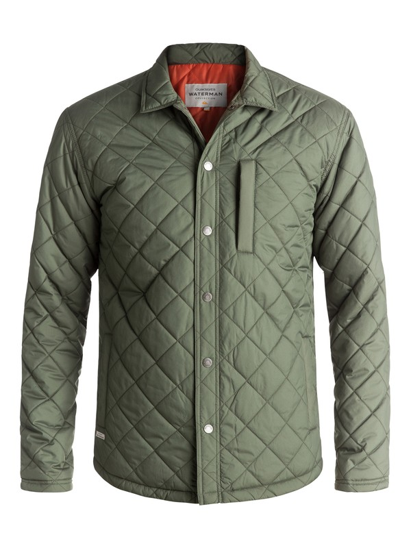 0 Waterman Puffed Up Water-Repellent Quilted Shirt Jacket Green EQMJK03004 Quiksilver