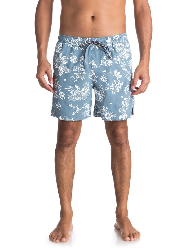 0 Waterman Om Floral Volley Boardshorts Blue EQMJV03027 Quiksilver