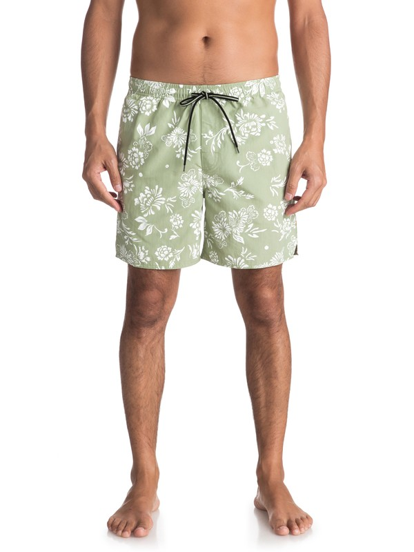 0 Waterman Om Floral Volley Boardshorts Green EQMJV03027 Quiksilver