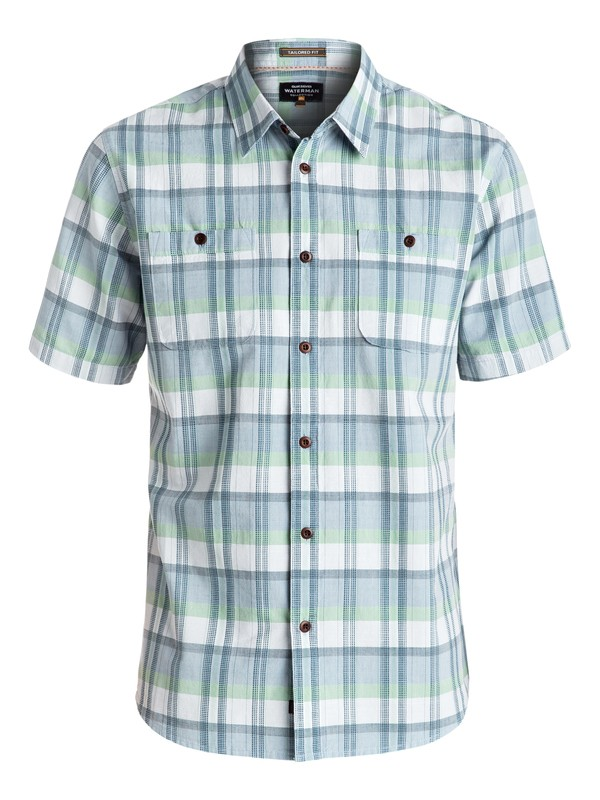0 Waterman Ample Time Short Sleeve Shirt Blue EQMWT03025 Quiksilver