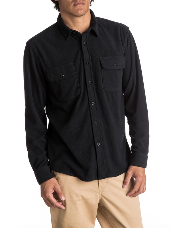 0 Waterman River Wild Long Sleeve Fleece Shirt Black EQMWT03031 Quiksilver