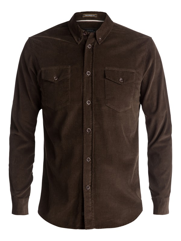 0 Waterman Bells Point Corduroy Long Sleeve Shirt Brown EQMWT03032 Quiksilver