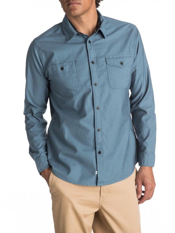 0 Waterman Tarno Long Sleeve Shirt Blue EQMWT03048 Quiksilver